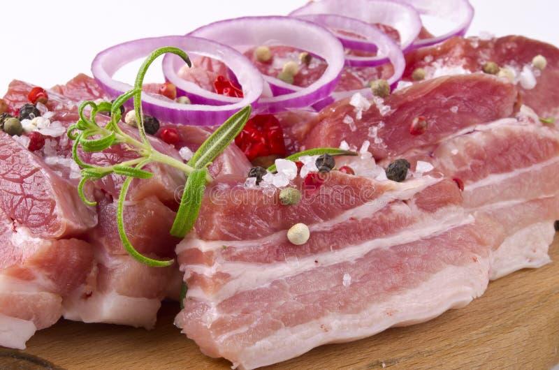 辣腹部的猪肉 免版税库存图片