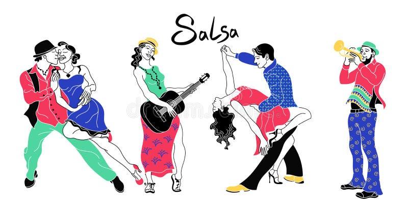 辣调味汁党海报 套典雅的夫妇跳舞辣调味汁 减速火箭的样式 人跳舞的辣调味汁和音乐家号手剪影  皇族释放例证