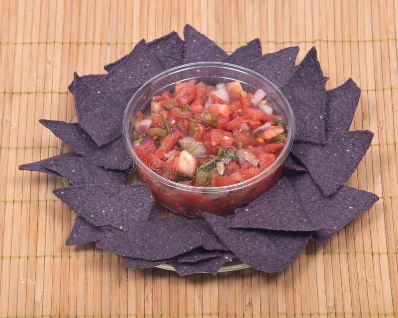 辣调味汁pico de加洛和蓝色玉米粉薄烙饼切削 免版税库存图片