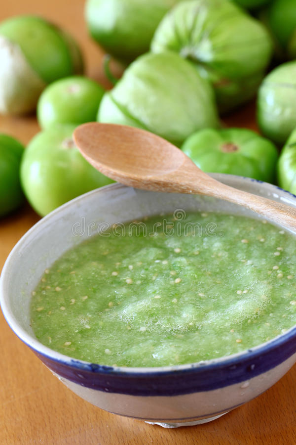 辣调味汁verde,墨西哥烹调 免版税图库摄影