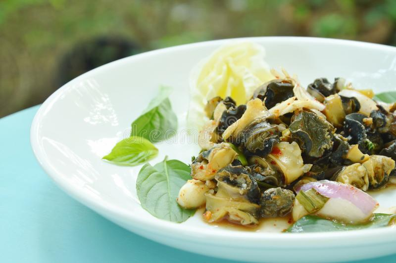 辣金黄苹果蜗牛用在板材的草本沙拉 免版税图库摄影