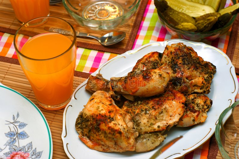 辣鸡的烘烤 免版税库存照片
