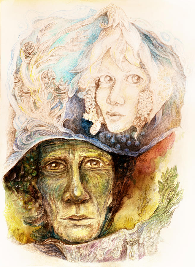 辨别老的讲故事的人一个faiy传说和一本被迷惑的书 向量例证