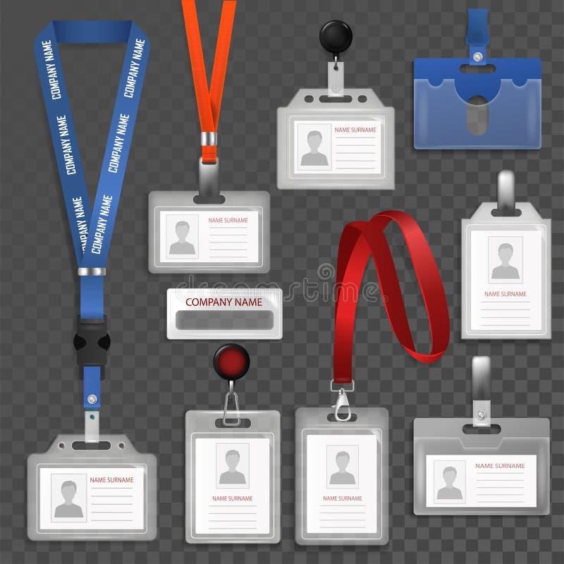 辨认例证套的徽章id传染媒介证明白色空白的塑料卡片辨认的模板持有人与 库存例证