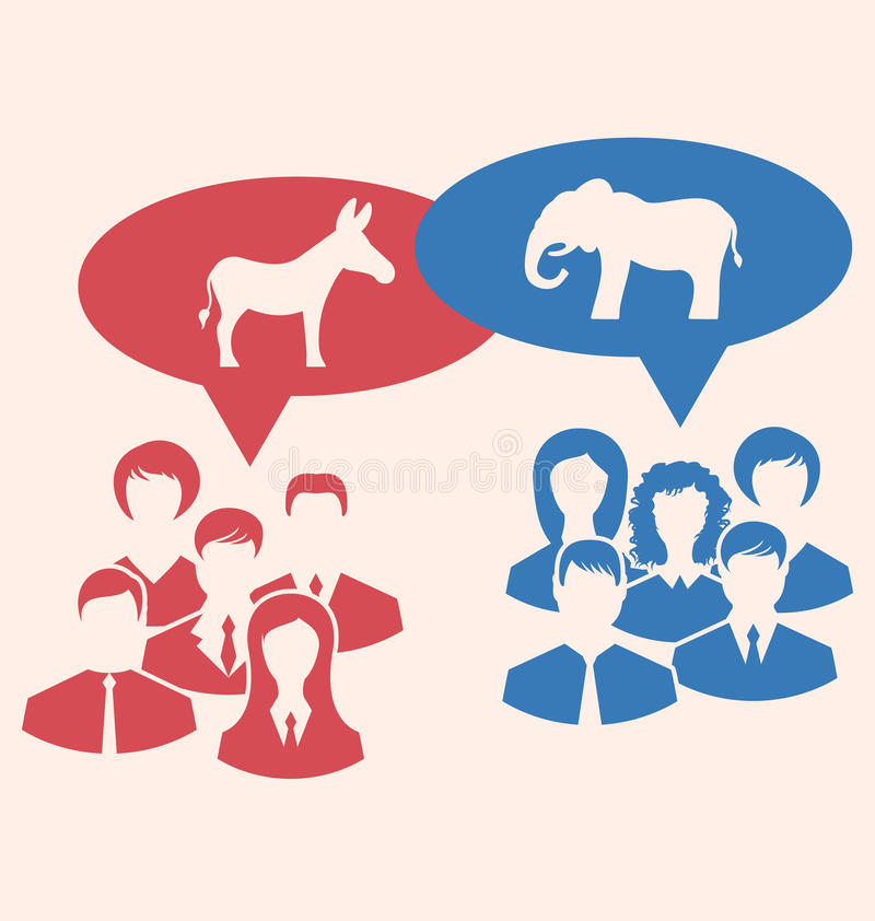 辩论共和党人和民主党的概念 向量例证