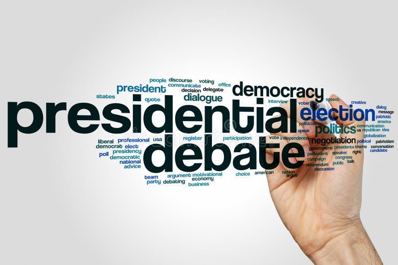 总统辩论词云彩概念 免版税库存图片
