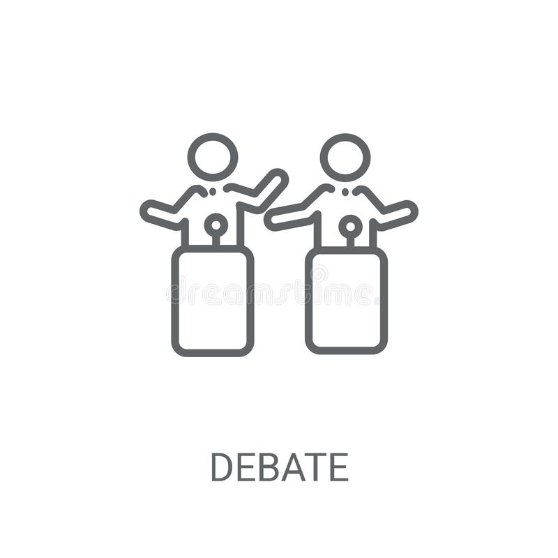辩论象 在白色背景的时髦辩论商标概念从 皇族释放例证