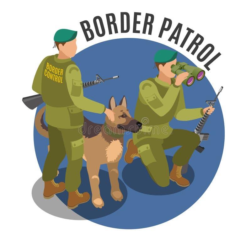 边境巡逻等量构成 向量例证