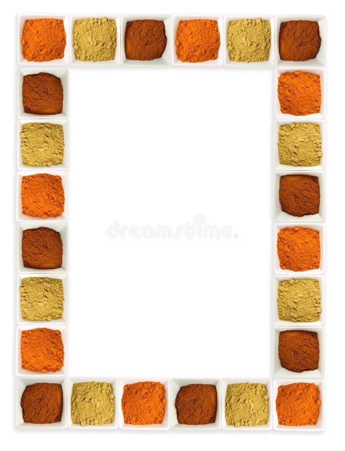 边界五颜六色的食物页香料 库存照片