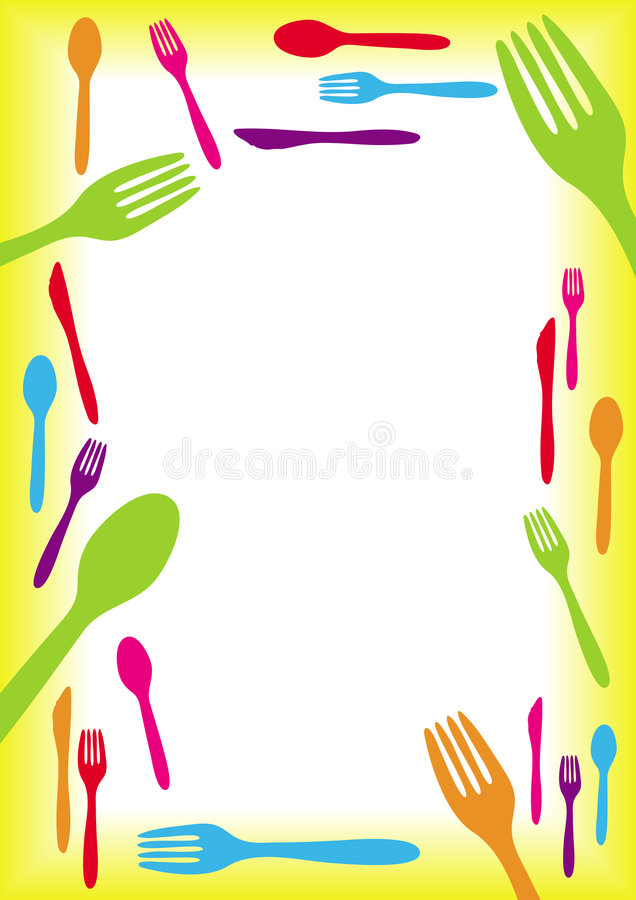 边界刀叉餐具 向量例证