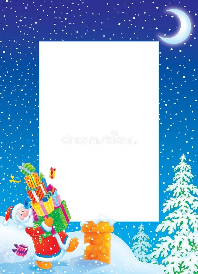 边界圣诞节克劳斯框架照片圣诞老人 库存例证