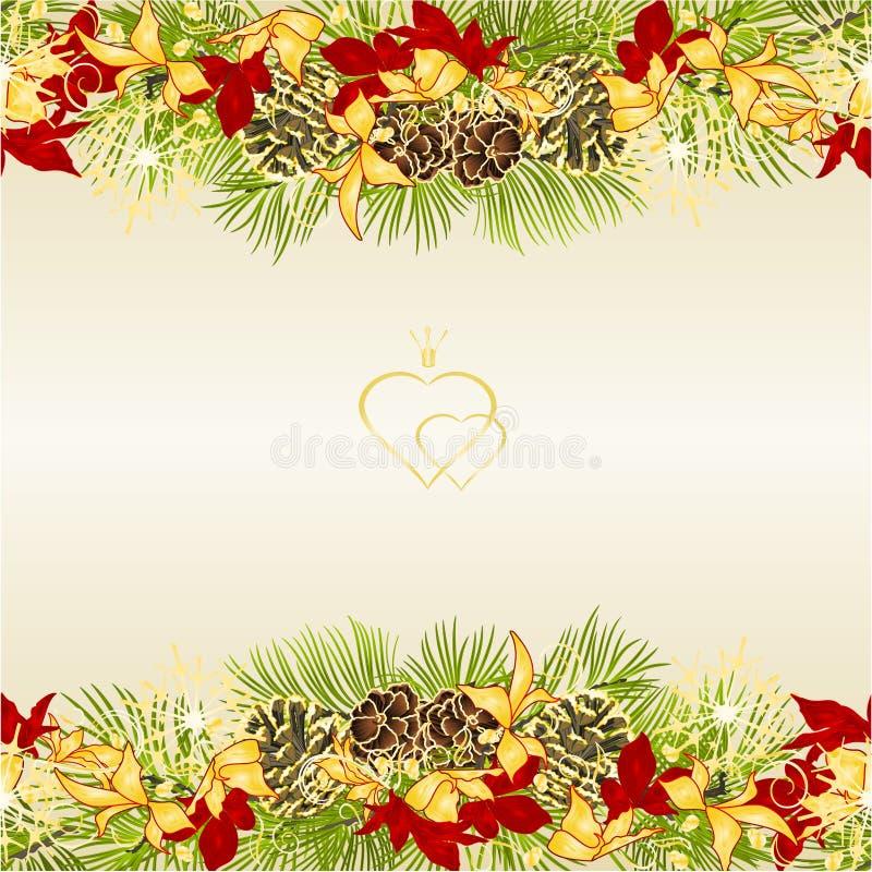 边界圣诞节和新年装饰欢乐金黄和红色叶子一品红三和杉树分支杉木锥体和金黄 库存例证