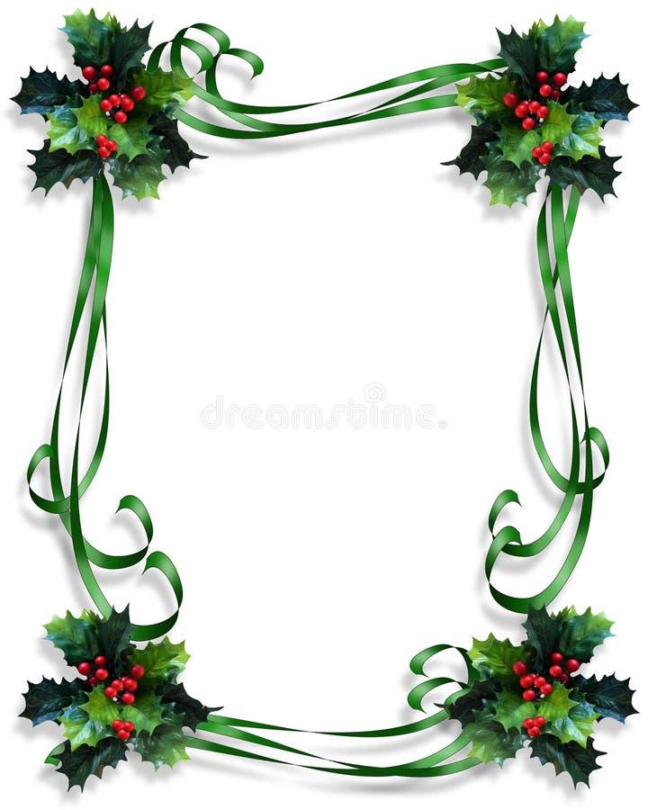 边界圣诞节框架霍莉丝带 向量例证