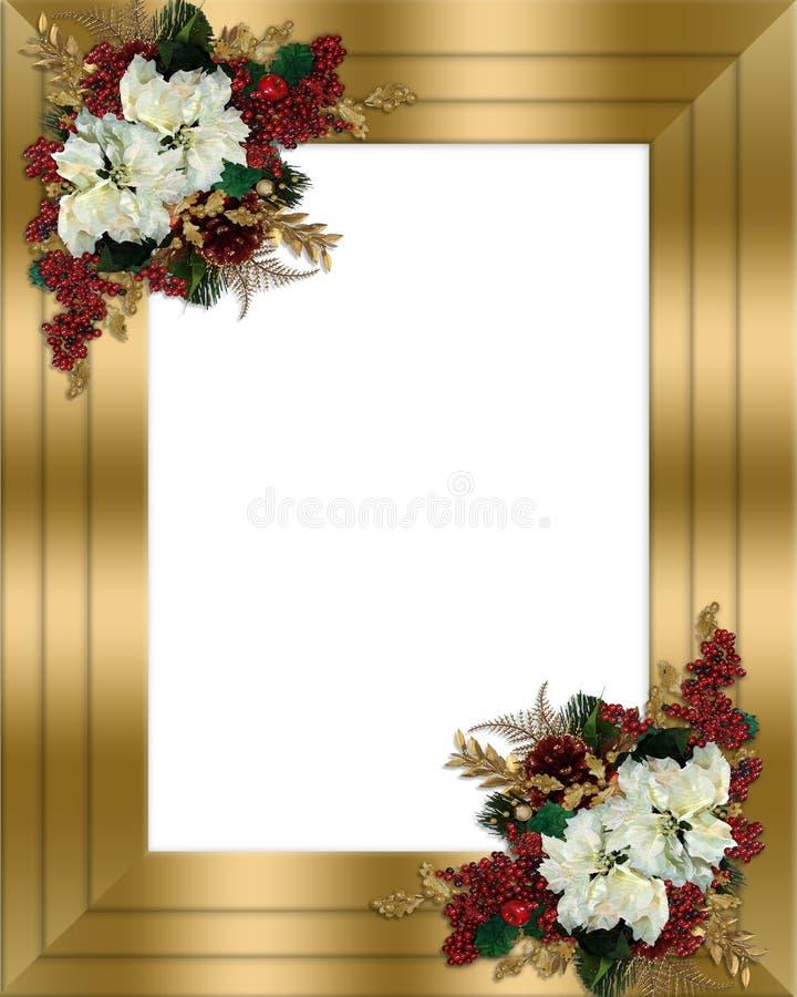 边界圣诞节花卉金子 向量例证