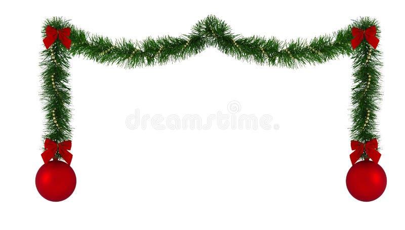 边界圣诞节装饰 库存例证