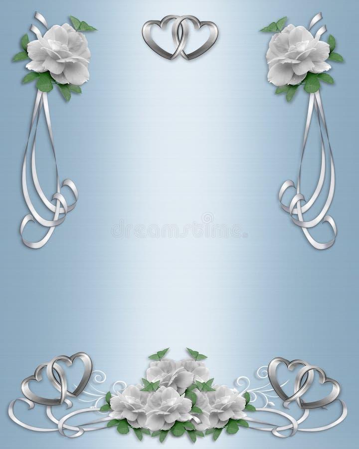 边界婚姻白色的邀请玫瑰 库存例证