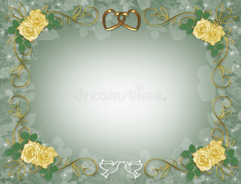 边界婚姻黄色的邀请玫瑰 库存例证