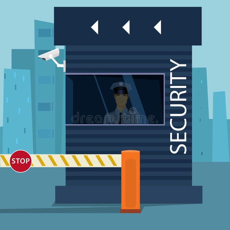 边界护照管制或安全检查站 向量例证