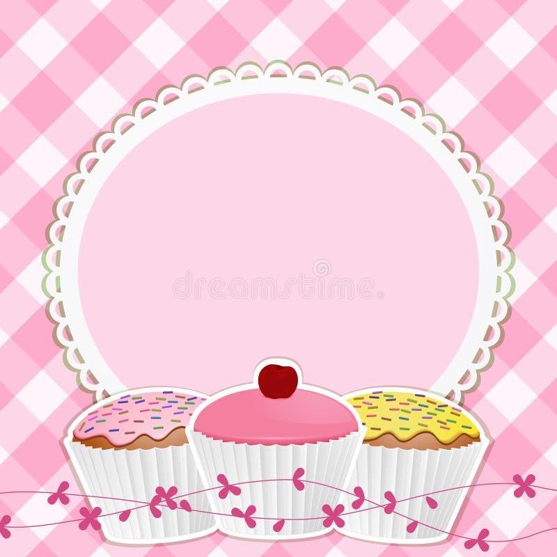 边界杯形蛋糕方格花布粉红色 皇族释放例证