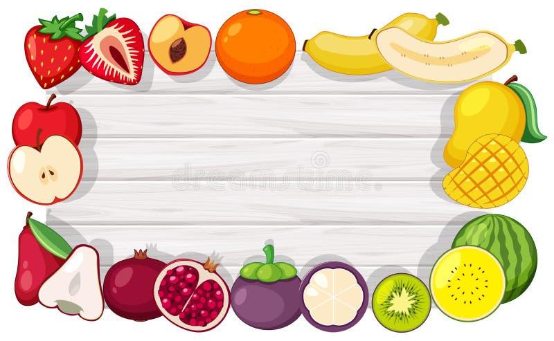 边界模板用热带水果 皇族释放例证
