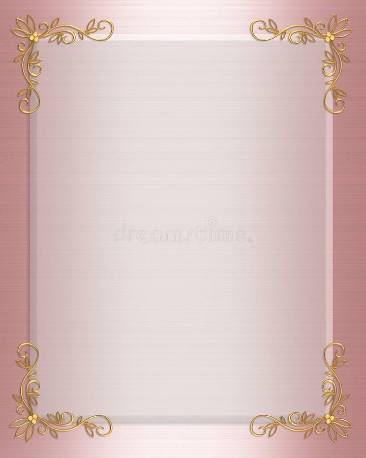 边界正式邀请粉红色satin wedding 皇族释放例证