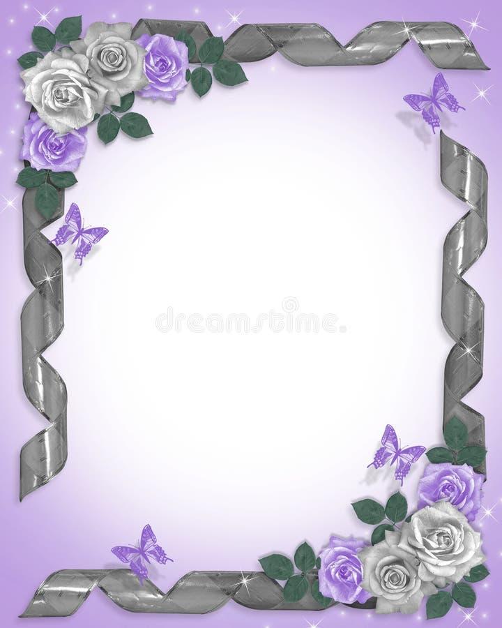 边界淡紫色丝带玫瑰 库存例证
