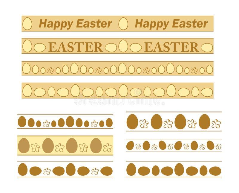 边界用装饰鸡蛋为复活节假日-装饰品传染媒介套  向量例证