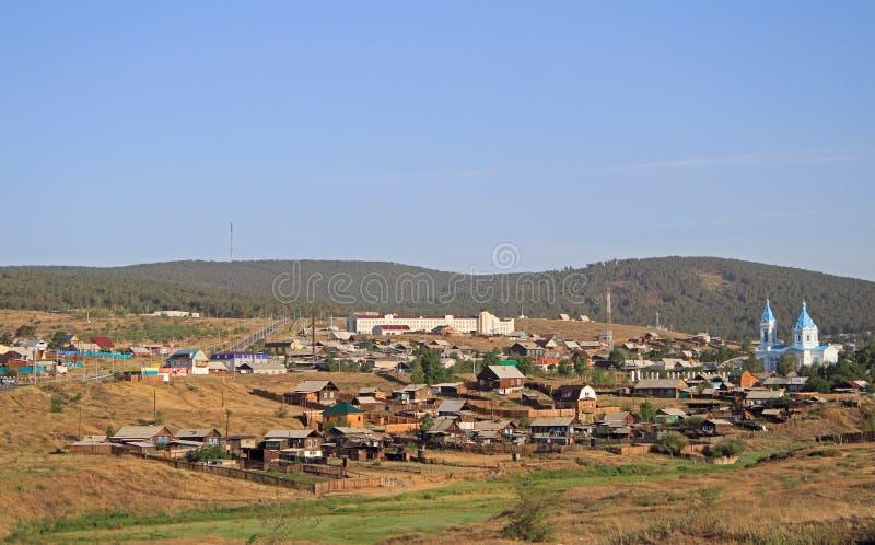 边界的俄国城市恰克图与蒙古 库存图片