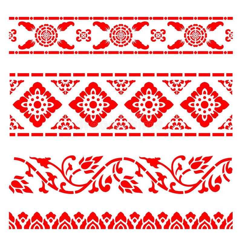 边界线样式亚洲传统艺术设计传染媒介,泰国传统设计赖泰国样式 向量例证