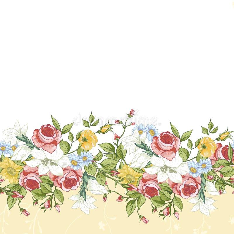 边界花卉无缝 向量例证