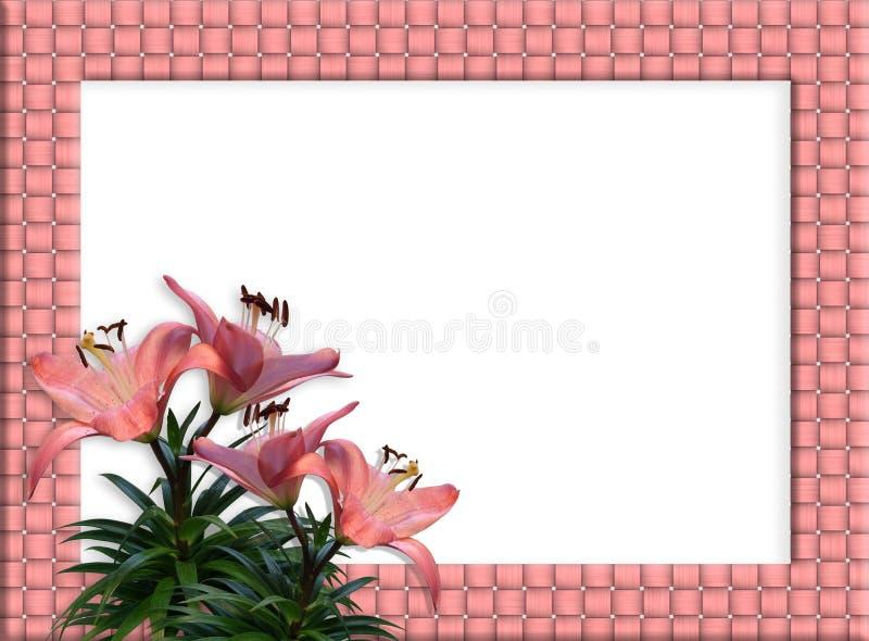 边界花卉框架百合变粉红色编织 库存例证