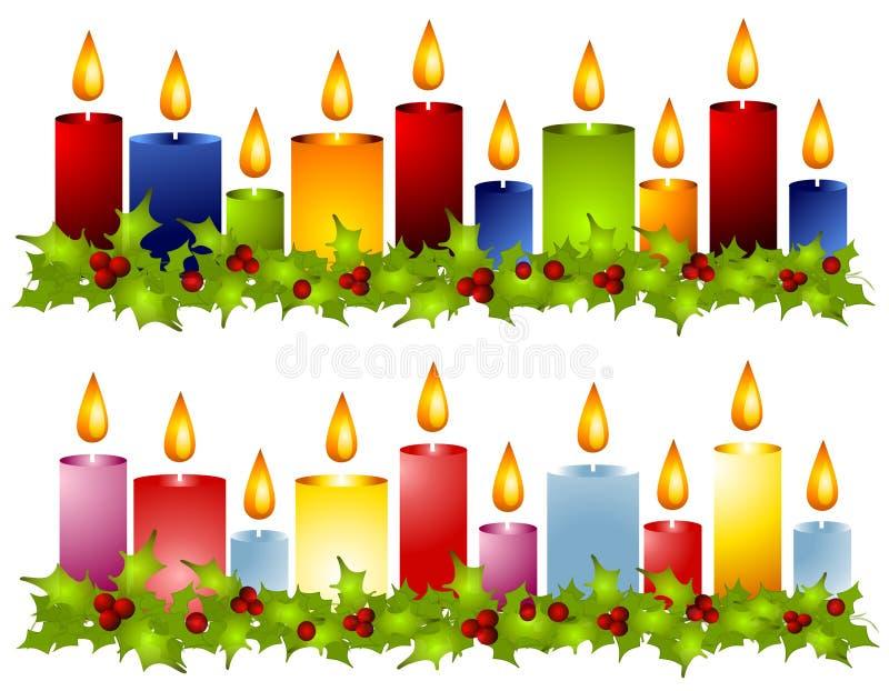 边界蜡烛圣诞节霍莉花圈 库存例证