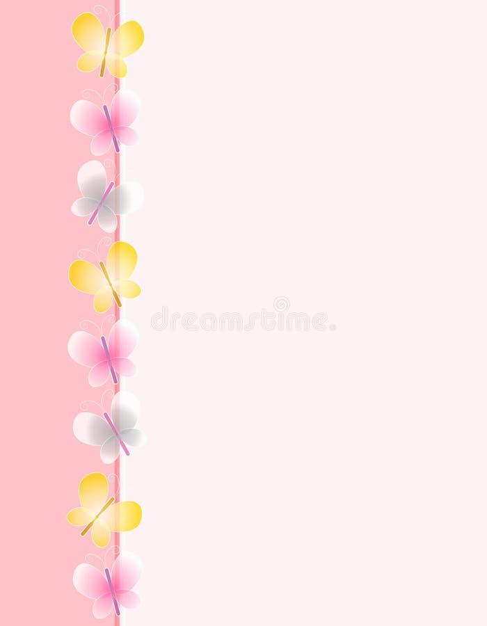 边界蝴蝶页粉红色春天 向量例证