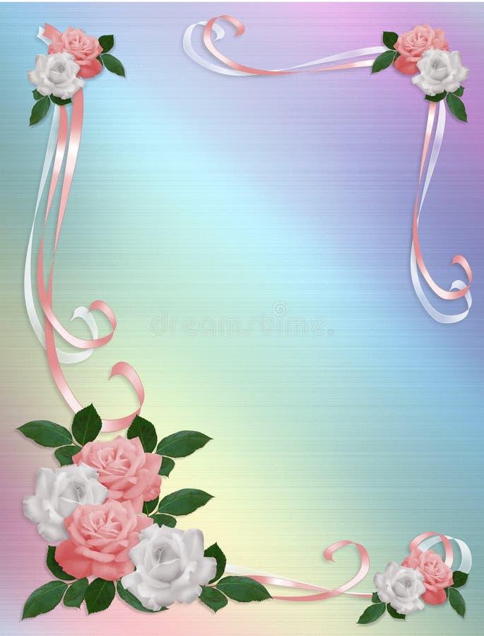 边界邀请婚姻白色的粉红色玫瑰 向量例证