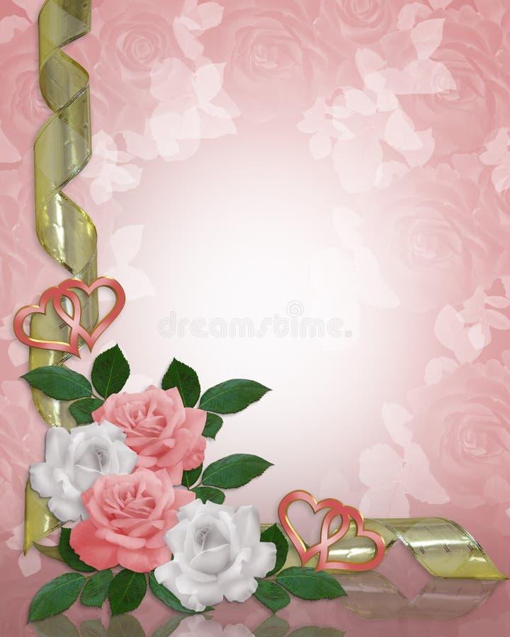 边界邀请婚姻粉红色的玫瑰 皇族释放例证