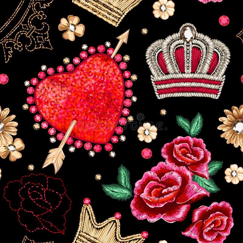 边界重点无缝模式的粉红色 皇族释放例证