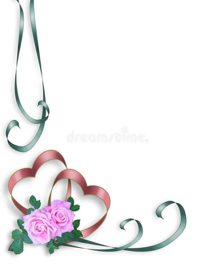边界重点邀请婚姻粉红色的玫瑰 向量例证