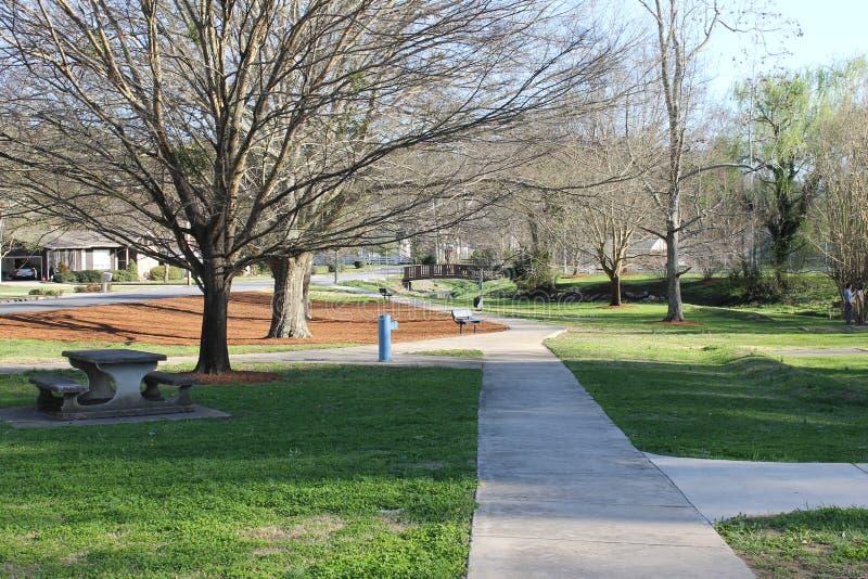 边路在公园和晴天 免版税库存图片