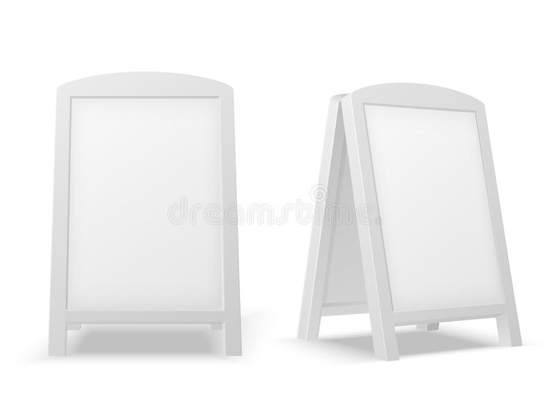 边路显示板 空的空白白色广告的立场 销售标志或街道横幅 3d传染媒介被隔绝的大模型 向量例证