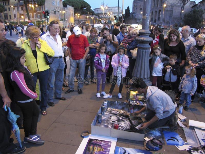 边路/街道艺术家在罗马意大利 库存图片