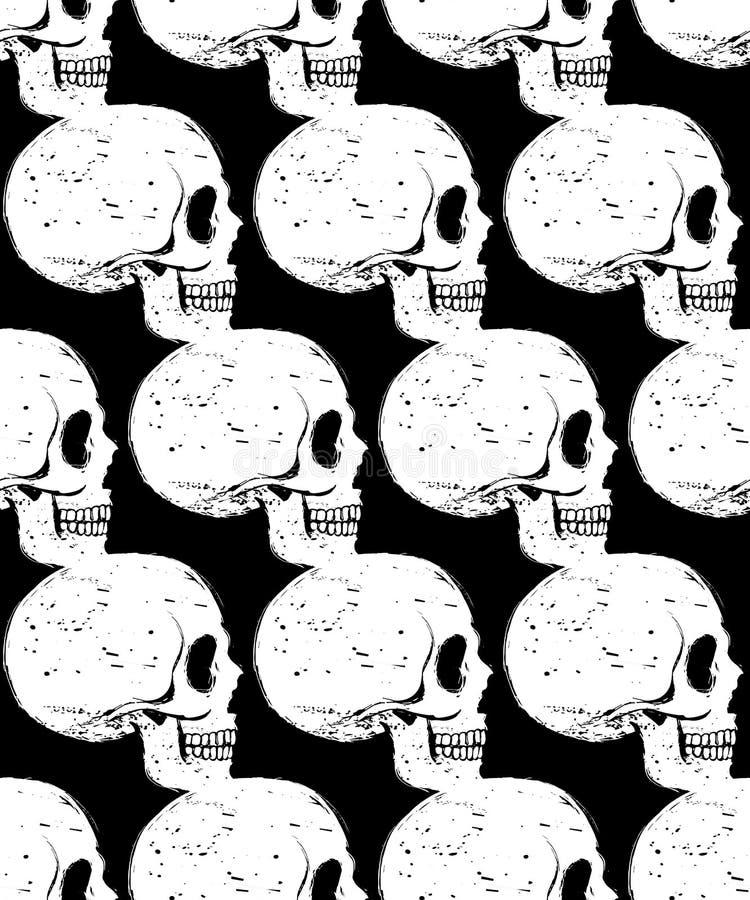 边面孔白色头骨无缝的样式 向量例证