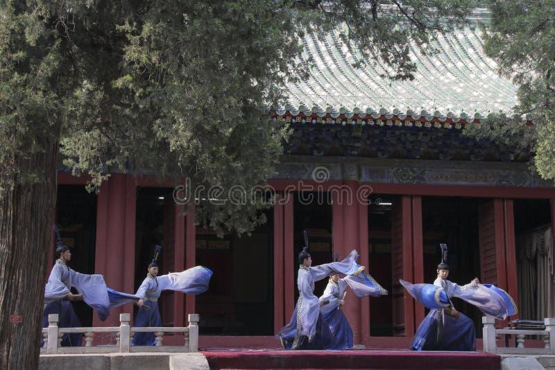 达城在孔庙的礼拜式音乐表现在北京,中国 库存图片