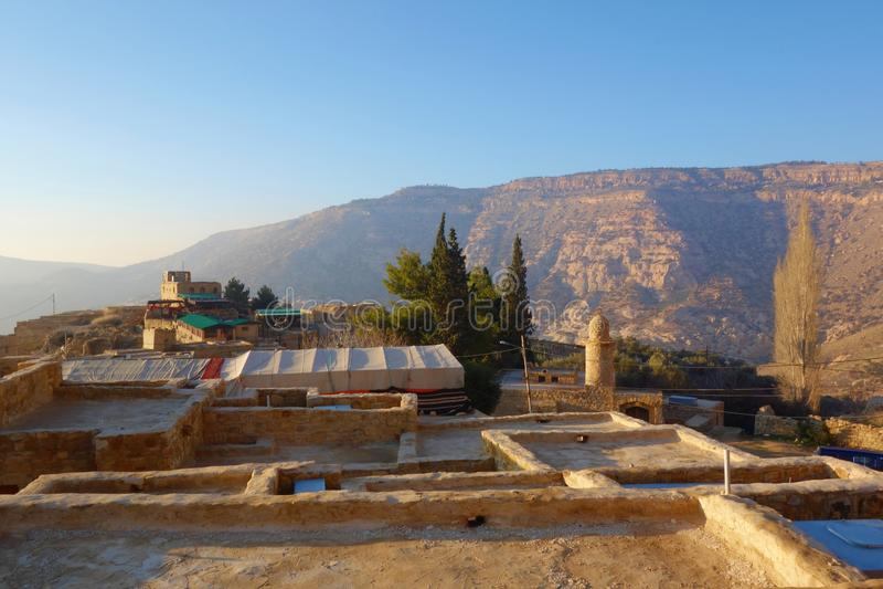 达娜生物多样性自然保护的达娜村庄在约旦,中东 免版税库存图片