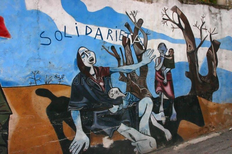达尔富尔抗议种族灭绝的壁画s苏丹 免版税库存照片