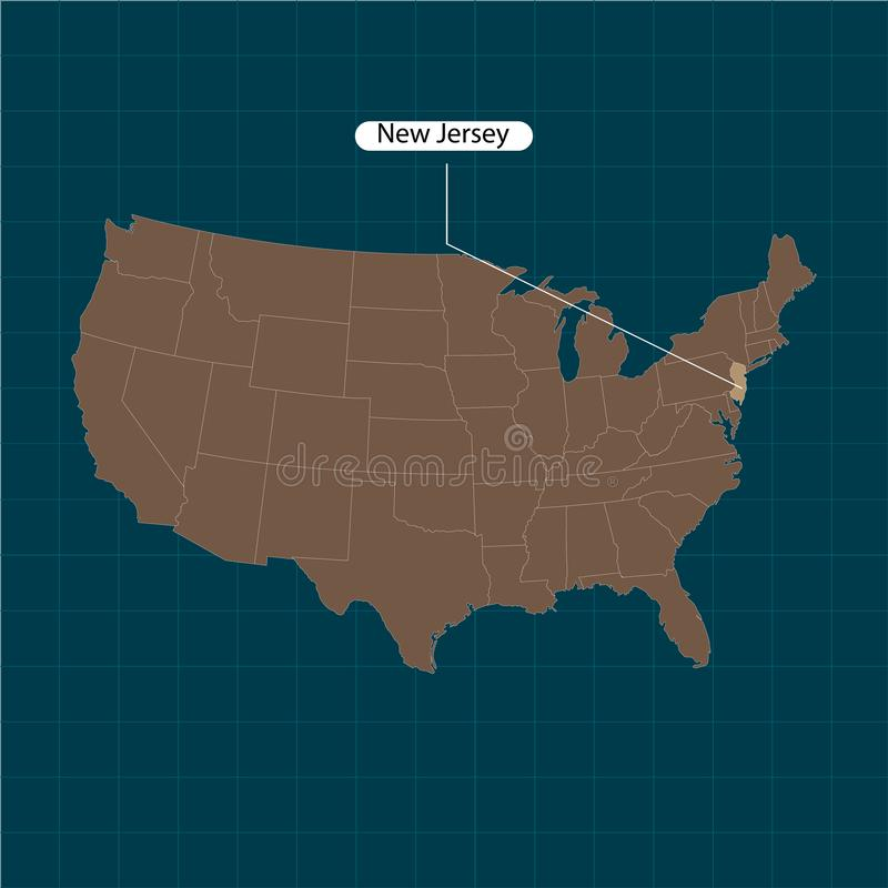 达成协议截去色的海拔的区区greyed包括的泽西主要映射新的路径相对替补河被遮蔽的显示状态周围的领土到都市 美国疆土状态黑暗的背景的 分立的国家 也corel凹道例证向量 库存例证
