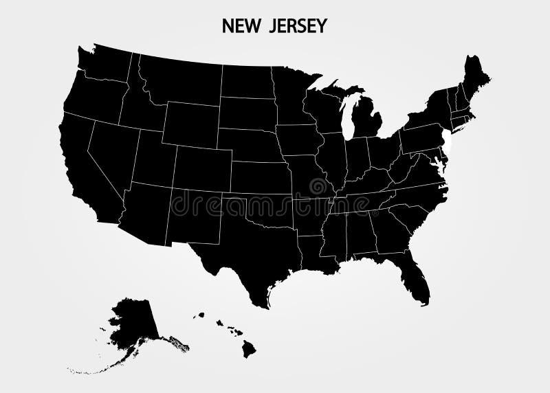 达成协议截去色的海拔的区区greyed包括的泽西主要映射新的路径相对替补河被遮蔽的显示状态周围的领土到都市 美国疆土状态灰色背景的 分立的国家 也corel凹道例证向量 皇族释放例证