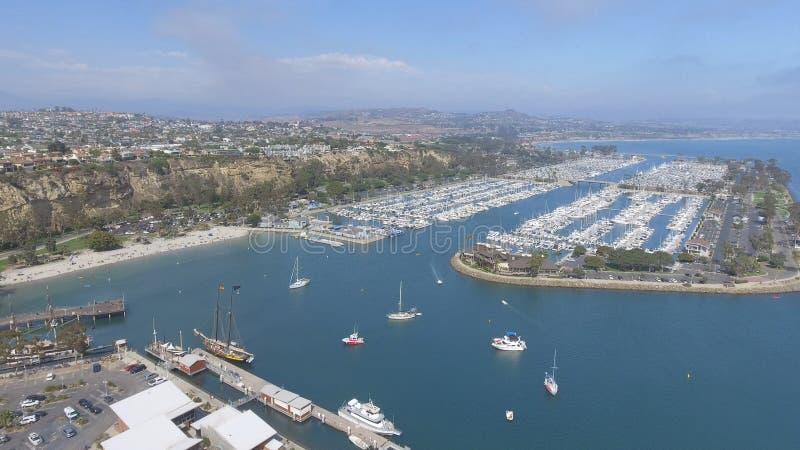 达讷论点口岸和海岸线,加利福尼亚鸟瞰图  图库摄影