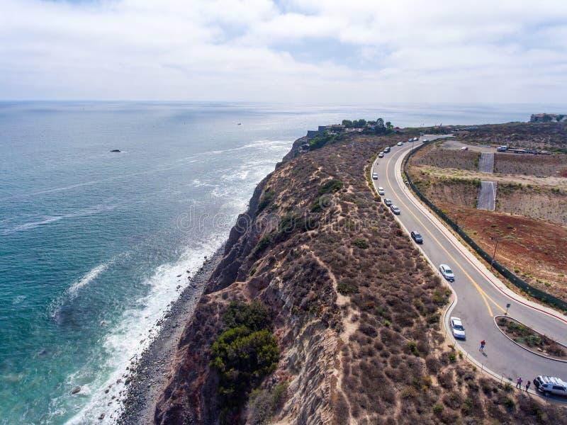 达讷论点海岸线和路,加利福尼亚-美国鸟瞰图  免版税图库摄影