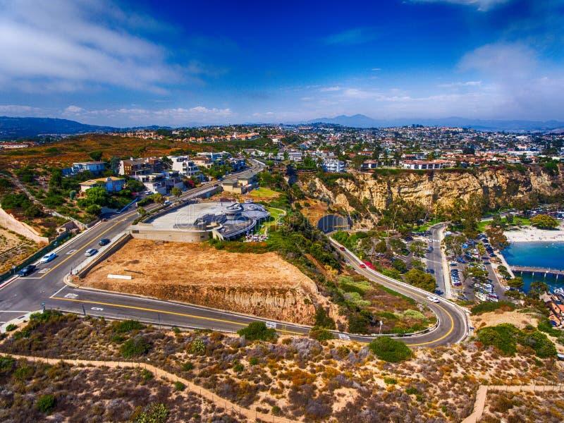 达讷论点海岸线和路,加利福尼亚-美国鸟瞰图  库存照片