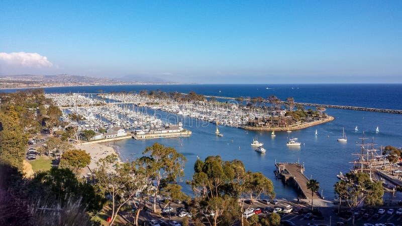达讷论点港口,加利福尼亚鸟瞰图  免版税库存照片